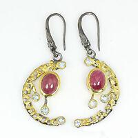 Handmade Jewelry Ruby 925 Sterling Silver Hook Earrings