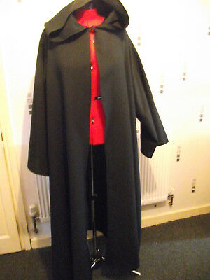 wizard black long hooded cloak with sleeves q44