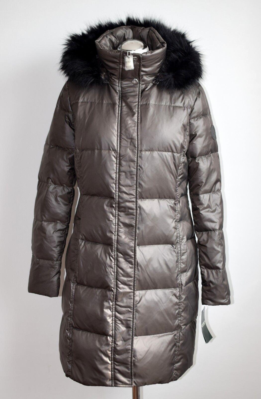 RALPH LAUREN QUILTED COAT - COAT Damen Daunen Mantel Gr. S grau-braun