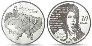 FRANCE-10-Euro-Argent-BE-2012-Litterature-Le-Chat-Botte-Silver-coin