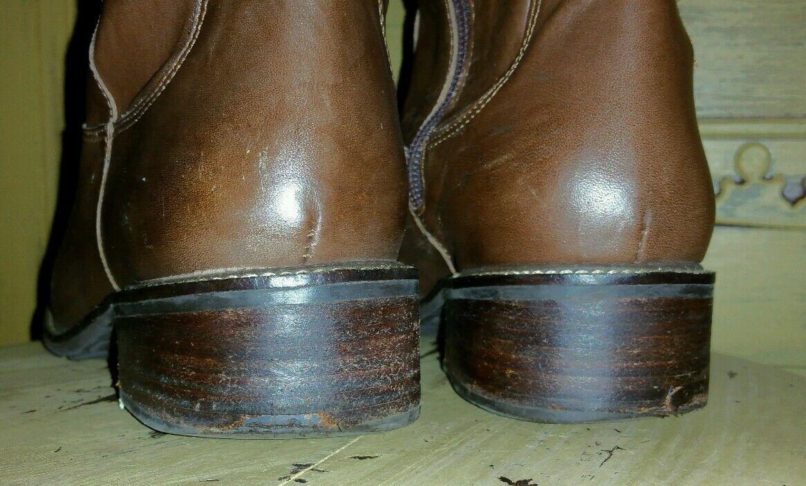 LL BEAN RIDING LADIES BROWN LEATHER TALL RIDING BEAN Stiefel 7.5 M BRAZIL BOHO ZIP SIDE 157565
