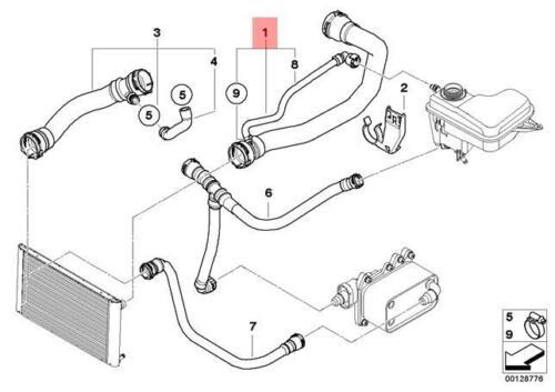 Genuine BMW E65 E66 Sedan Radiator Cooling System Water Hose OEM 17122249459