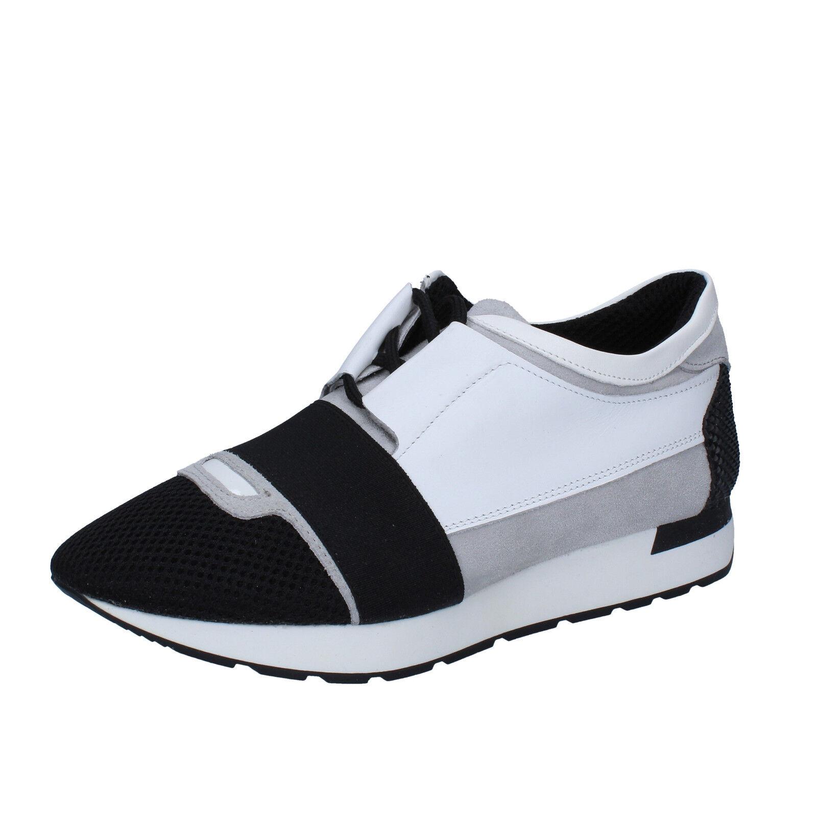 Herren schuhe SALVO FERDI 42 EU sneakers schwarz Weiß leder wildleder BZ612-C