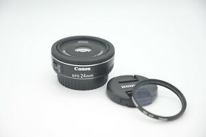 Canon EF-S 24mm f/2.8 STM Pancake Lens w/2 Filters EXCELLENT Condition