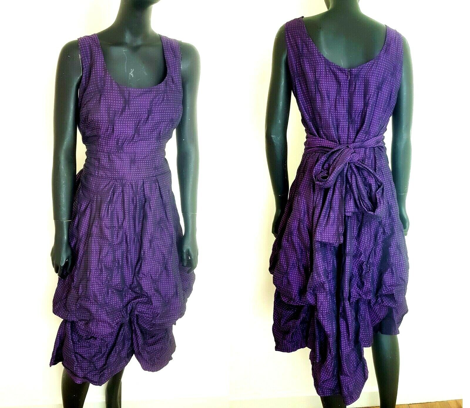 Phase Eight Dress lila Check Fitted Parachute Ruffled Sleeveless UK16 Party