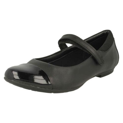 R43B Jen Clarks Tizz Talk Girls Black Leather Shoes F-Fit UK 3 to 6.5