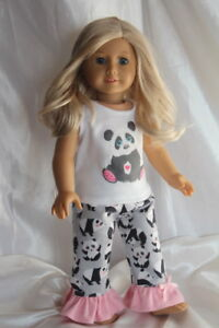 Doll-Clothes-fits-18inch-American-Girl-Dress-Pajamas-Hearts-Panda