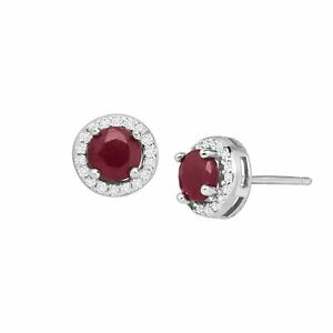 Natural-Ruby-amp-White-Topaz-Halo-Stud-Earrings-in-Sterling-Silver