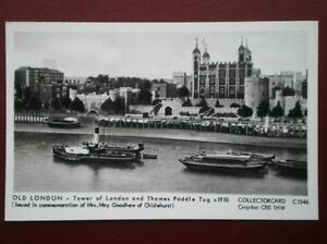 POSTCARD LONDON TOWER OF LONDON amp THAMES PADDLE TUG C1910 - Tadley, United Kingdom - POSTCARD LONDON TOWER OF LONDON amp THAMES PADDLE TUG C1910 - Tadley, United Kingdom
