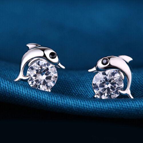 Ladies Dolphin Earrings 925 Sterling Silver Plated Ear Stud Studs Crystal Girls