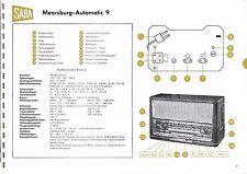 Service Manual-Anleitung für Saba Meersburg Automatic 9  Baujahr 1958/59