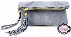 ladies-grey-suede-tassel-clutch-bag
