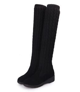 Women Ladies Over Knee Long Boots Thigh High Knitting wool Boots Autumn Winter