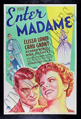 ENTER MADAME * Vintage Hollywood CARY GRANT ELISSA LANDI RARE MOVIE POSTER 1935