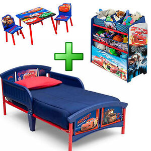 Details about Boy Bedroom Furniture Set Girl Toy Organizer Kid Child  Toddler Bed Table Chairs