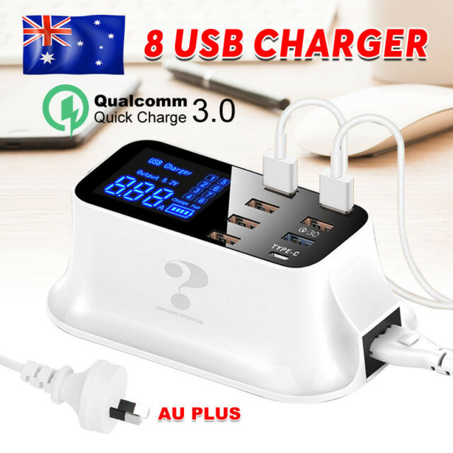 8-Ports USB Charger Charging Station Desktop Dock Quick Charge 3.0 Type-C 40W/8A