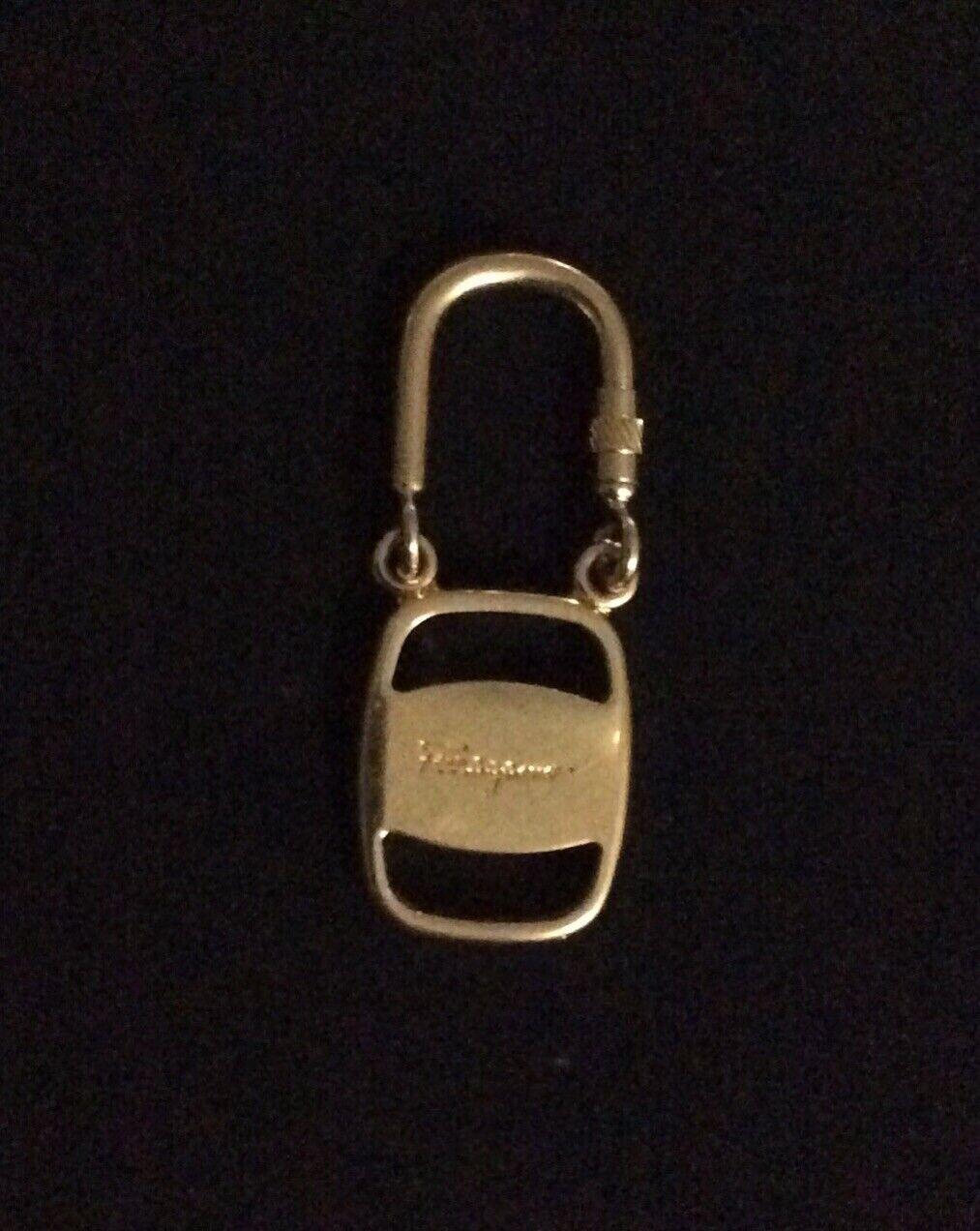 Authentic Salvatore Ferragamo Keychain Gold Tone. Made In Italy.