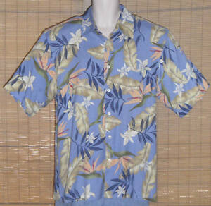 IZOD Hawaiian Shirt Silk Blue Tan Peach Bird of Paradise Floral Size Large