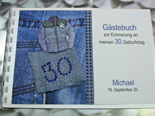 Gästebuch Geburtstag creme Jeans blau Zahl 18 20 25 30 40 50 60 70 DIN A5 quer