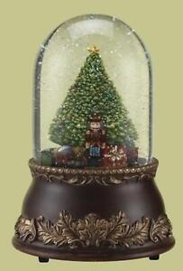 Roman Glitterdome Musical Revolving Christmas Tree and Train Holiday Snow Globe