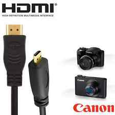 Canon Powershot G7 X Camera HDMI Micro TV Monitor 5m Long Gold Wire Lead Cable