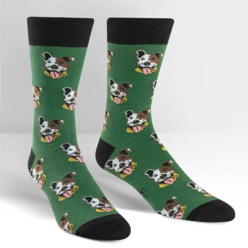 Sock It To Me Mens Novelty Crew Socks Dog Go Fetch Dark Green Cotton Blend New