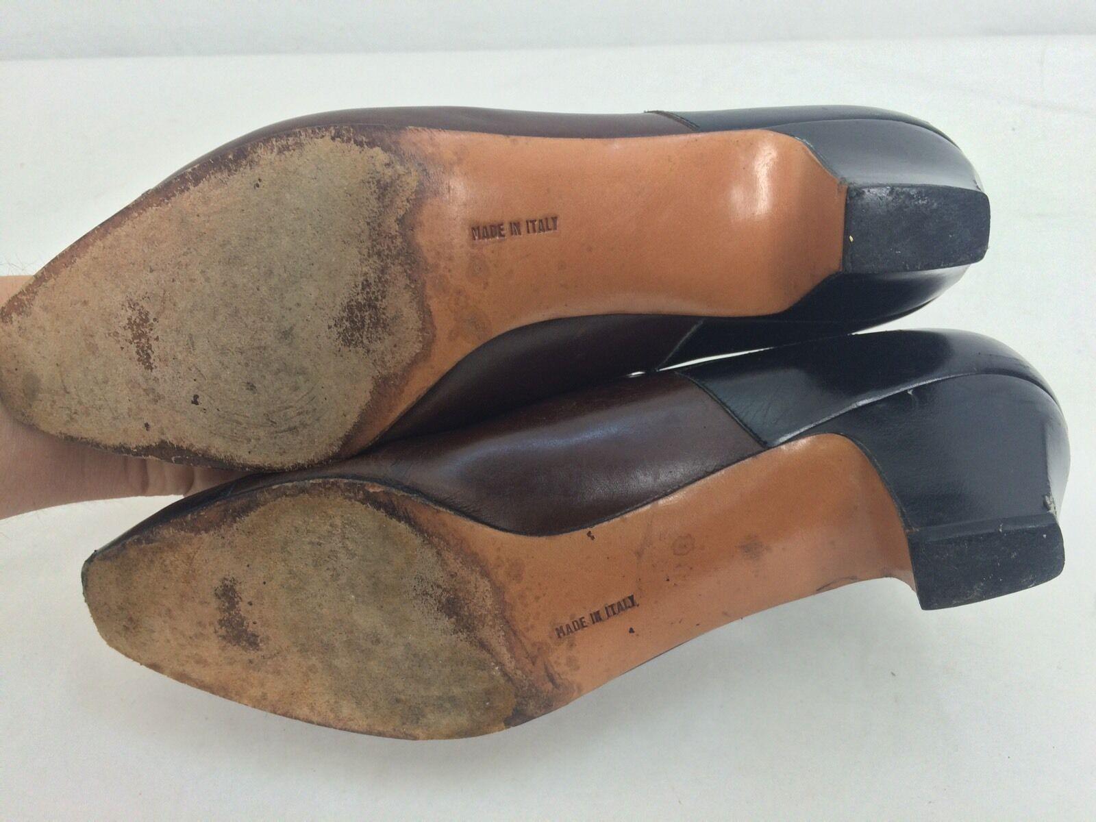 Vtg Ferragamo Black & & & Brown Leather Heels Pumps Size 9 EUC  9b6221