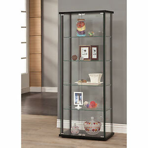 La Foto Se Está Cargando Curio Cabinet Glass Display Case Furniture Showcase  Storage