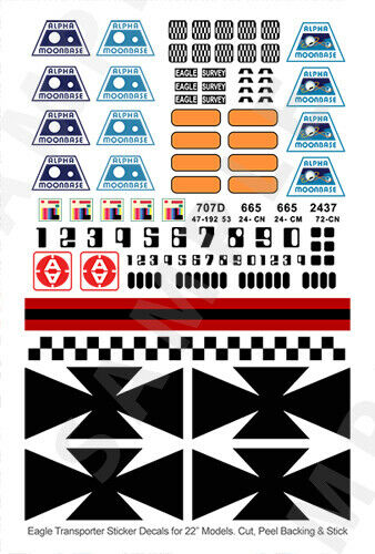 """22/"""" INCH MODELS STICKER DECALS SPACE 1999 EAGLE TRANSPORTER MPC /& PE"""