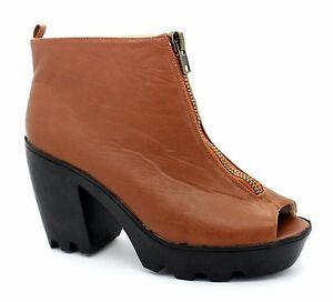 """Fiore Womens UK 8EU 42 Brown Open Toe 4"""" Block Heel Brand New Zip Up Ankle Boots"""