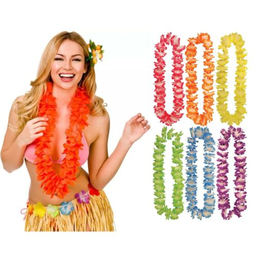 HAWAIIAN LEI HULA Flower Garland Necklace Hen Aloha Hawaii Fancy Dress Party LOT