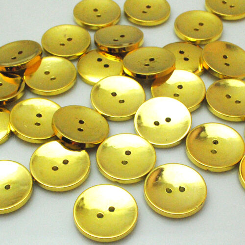 New 10//30//50pcs Gold Round Plastic Buttons 2 Holes Sewing Craft 25mm