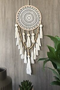 Light-Brown-32cm-Circle-White-Cream-Crochet-Web-Dream-Catcher-Pom-Poms-amp-Tassels