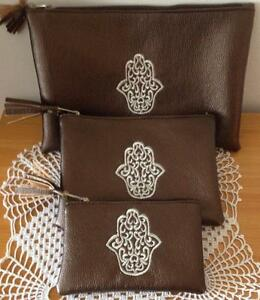 MOROCCAN-COSMETIC-MAKEUP-3-LINED-ZIPPERED-BAGS-NEW-BROWN