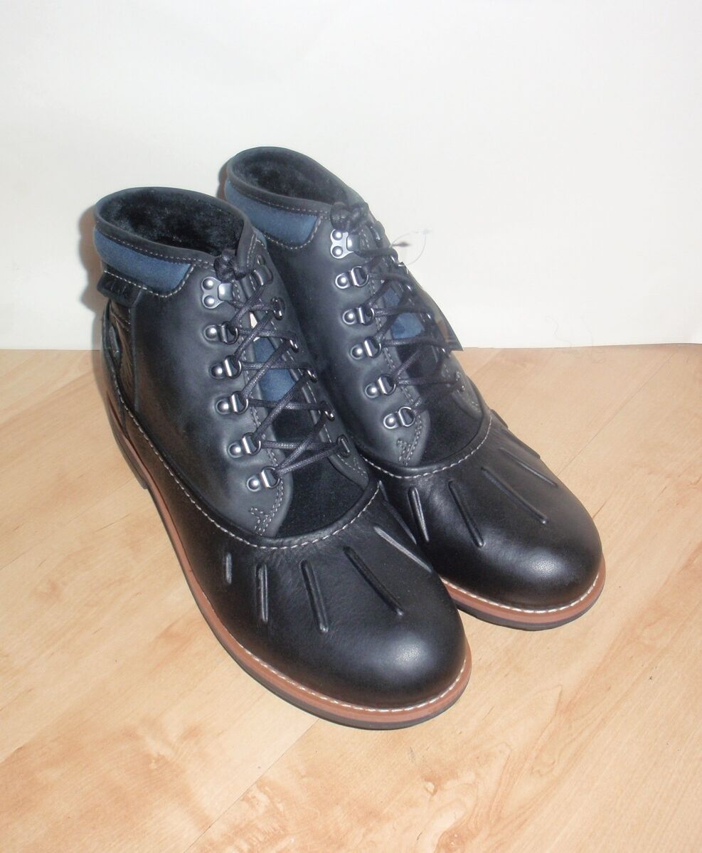NEW Clarks mens MIDFORD UP GTX black leather lined boots size 10 EU 44.5