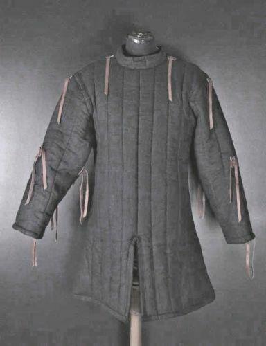 Medieval black Gambeson Medieval Padded collar full sleeves