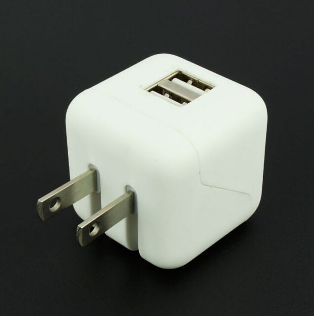 New Travel For Cell Phone Plug Wall Charger 2.1A Cube Dual USB Adapter 2-Port