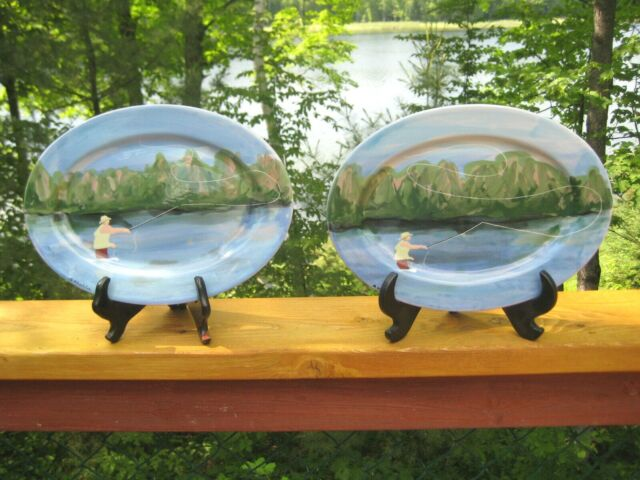 2 SIGNED FLY FISHING THEMED DISPLAY PLATES HAND PAINTED BY SANDRA RHODDA