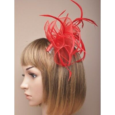 NEW Pink layered fabric and feather fascinator clip and pin wedding races prom