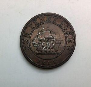 1814-RH-Richard-Hurd-One-Penny-Better-Grade-Token-Charlton-LC52-BR989-Scarce