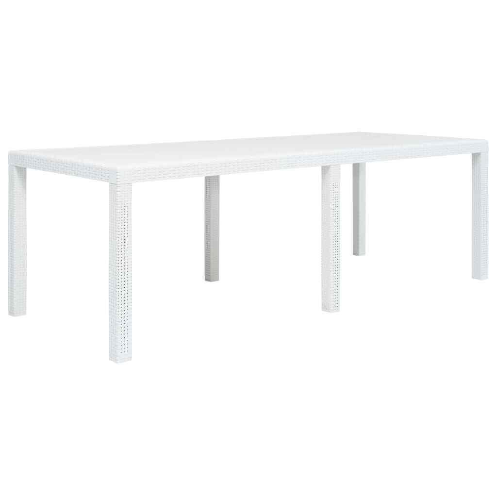 VidaXL Mesa de Jardín Plástico Aspecto de Ratán blancoa 220x90x72cm Mobiliario