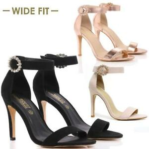 WOMENS LADIES HIGH HEELS SANDALS NEW WEDDING PARTY DRESS STRAPPY EVENING SHOES