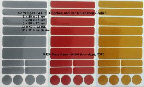gelb reflektierende Aufkleber silber Buggy 42 Reflex Sticker rot Kinderwagen
