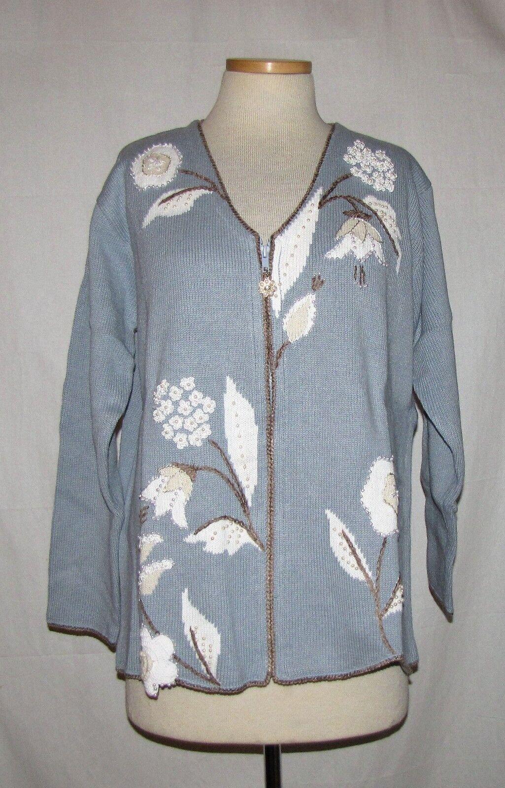 Storybook Knits  Luminous Garden  bluee w Jeweled Jacquard Flowers Sweater L NWT