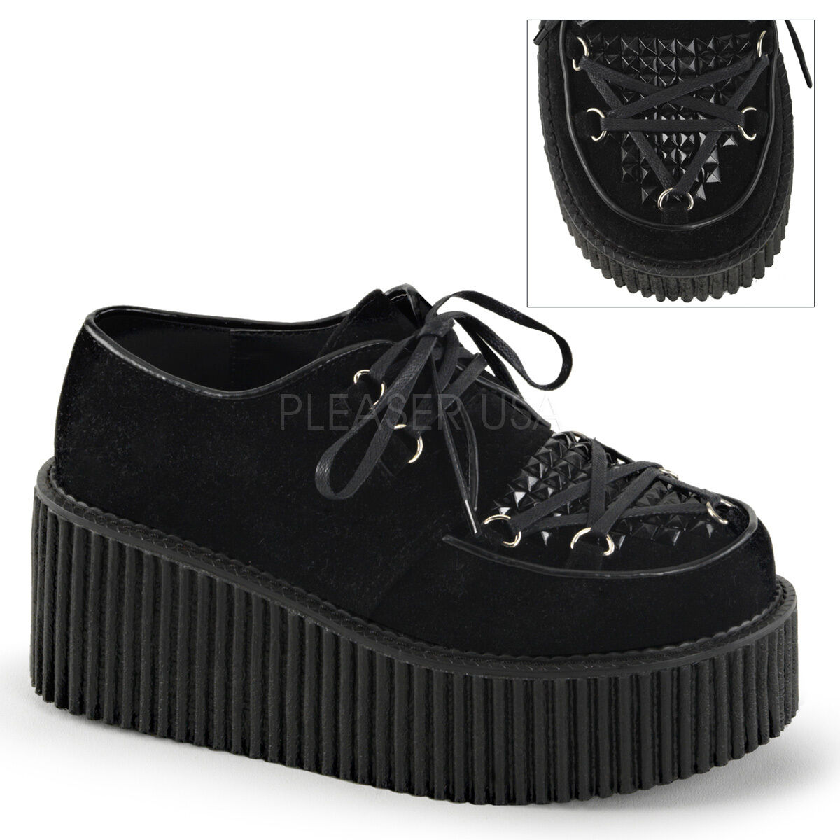 CREEPER-216 3  BIKER GOTH CASUAL D-RING VAMP  LACE UP SUEDE PLATFORM SHOES