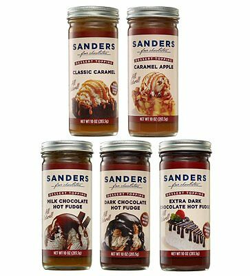 Sanders Chocolate Hot Fudge Dessert Topping 10oz - Milk Extra Dark or Caramel