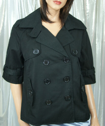 Junior Women Cotton Black Trench Peacoat Jacket Lined 3//4 Sleeve QS by s.Oliver