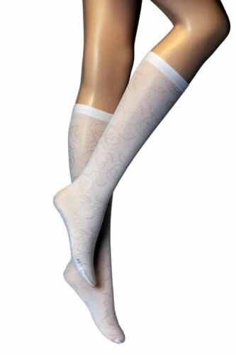 3 Pairs New Girls Women/'s White Knee High Floral Pattern Pop Socks P 26