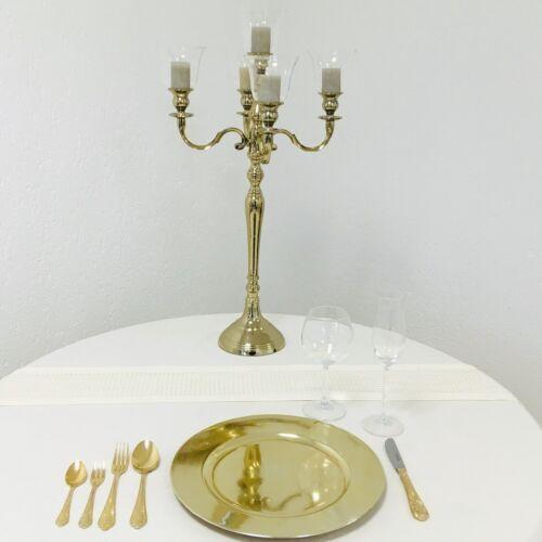 Kerzenleuchter Kerzenständer 74cm 4 x Glasaufsatz 1 x Blumenschale GOLD für Ho