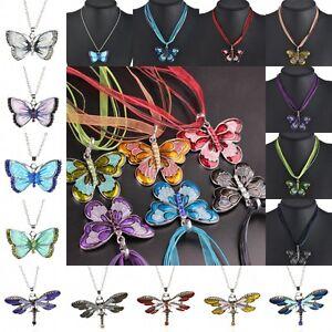 Women-Jewelry-Enamel-Butterfly-Crystal-Pendant-Necklace-Vintage-Fashion-Chain